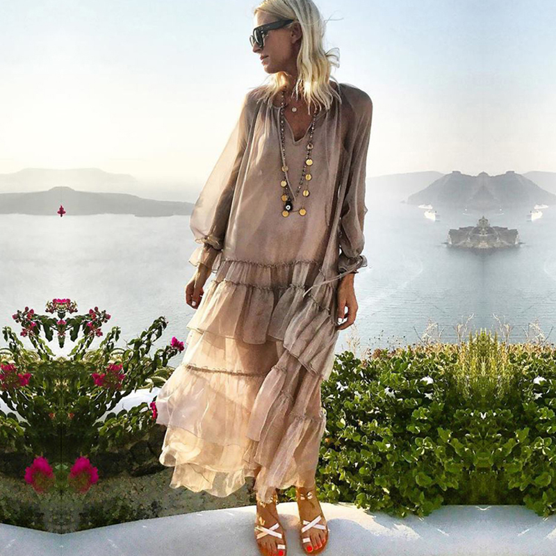 Ruffle Summer Dress Women 2019 Holiday Two Pieces Loose Boho Dress Ladies Bohemian Long Casual Dresses