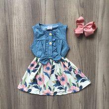 150886d7263e3 Yeni bebek kız çocuk giyim pamuk düz renk tozlu çiçek Denim Mavi fırfır  elbise butik yaz çiçek maç aksesuarları