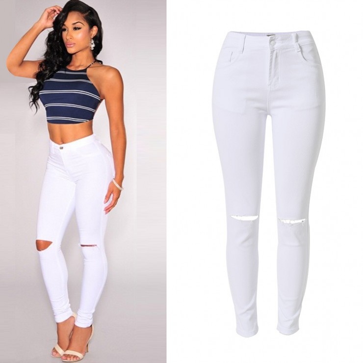 plus size high waist elastic cotton women white torn jeans ...