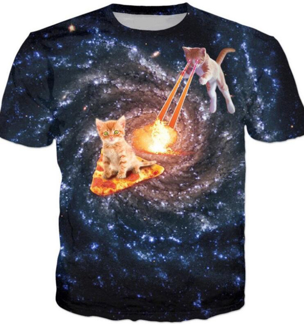 Galaxy Cat Pizza War T-Shirt 3D Print Cats Karate Kitten In A Drawer Tees Thirsty Cat Tops Unisex Hipster Outfits Girl Oversize