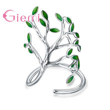 GIEMI S90 Silver Color Green Tree Hope Of Life Cubic Zirconia Finger Rings For Dance Party Top Quality Never Fade Cost Prirce(China)