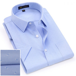 Image 4 - Summer turndown collar short sleeve oxford fabric soft print business men smart casual shirts with chest pocket S 4xl 8color