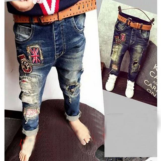 2016 marca novos meninos de jeans crianças calça casual calça jeans bebê crianças calças varejos 2 - 6 anos meninos jeans crianças roupas infantis calças jeans