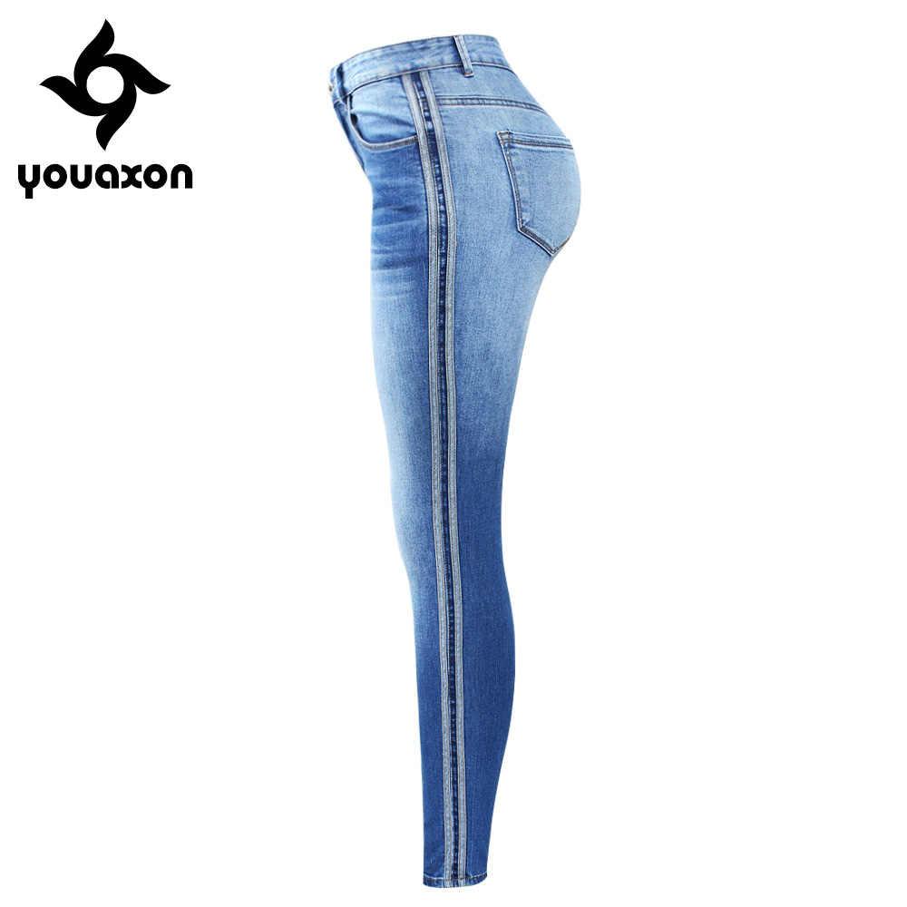 2173 Youaxon Фирменная Новинка боковые полосы Выцветшие джинсы плюс размеры женские эластичные джинсовые узкие брюки мотобрюки для женщин Джинс
