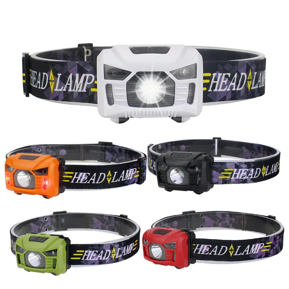 VBS 5W Body Motion Sensor Headlamp LED Headlight Powerful Hat Light USB Rechargeable Head Torch Waterproof Adjustable Headband
