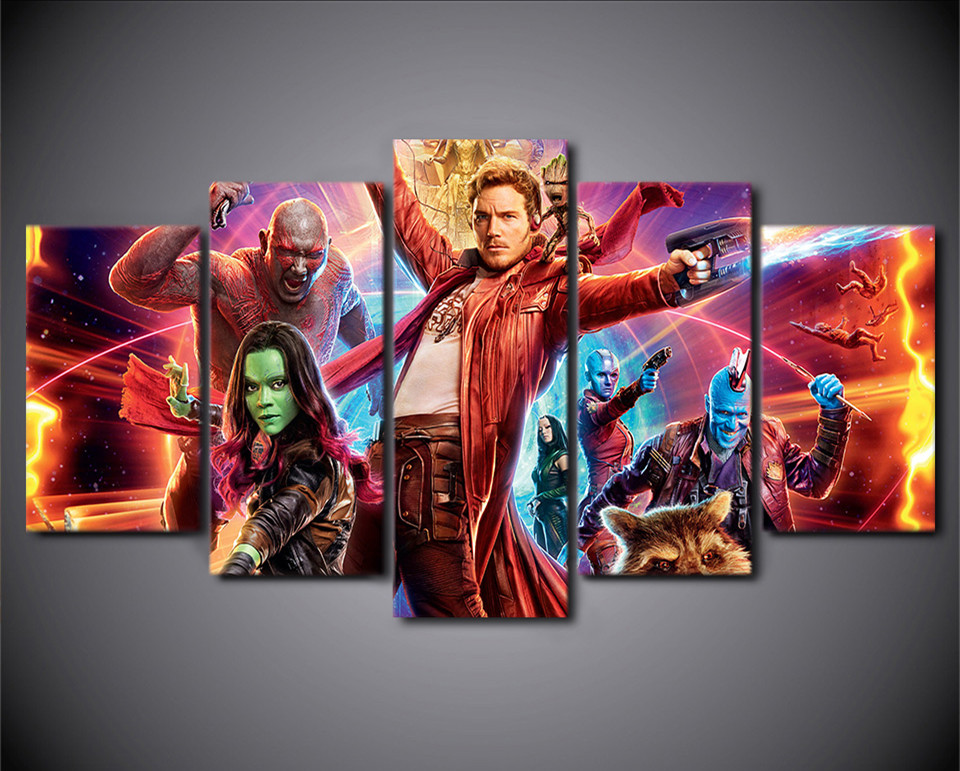 5 Pieces Canvas Paintings Printed Guardians Of the Galaxy Wall Art Canvas Pictures For Living Room Bedroom Home Decor