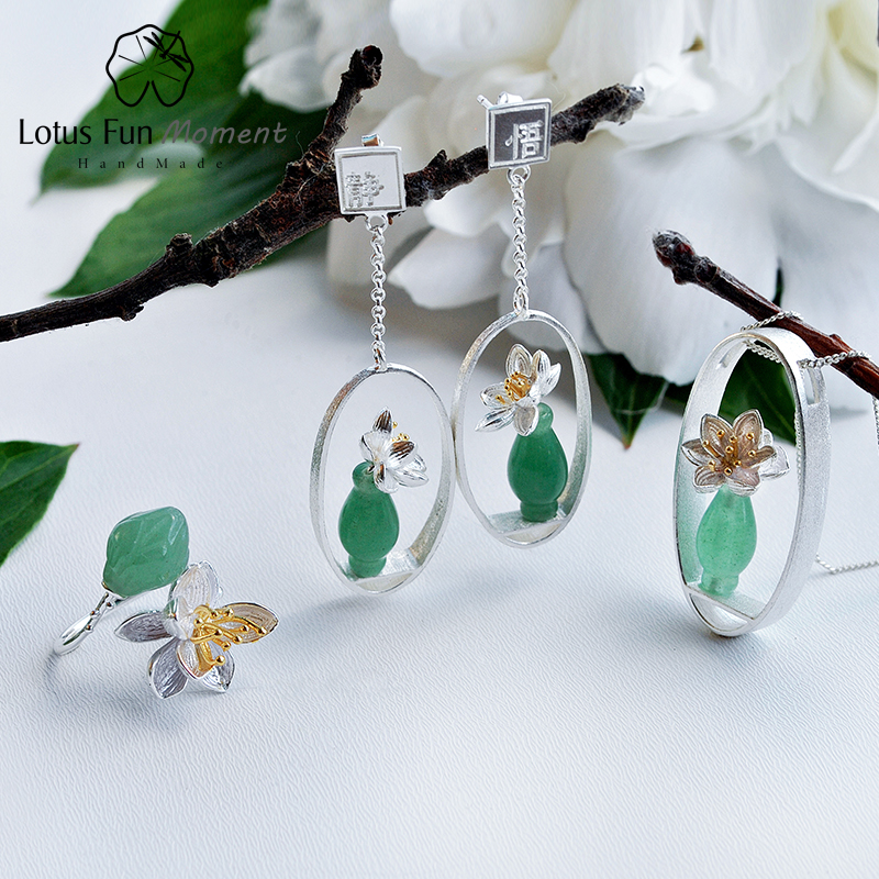 Lotus Fun Moment Real 925 Sterling Silver Natural Stone Creative Handmade Fashion Jewelry Lotus Whispers Jewelry Set for Women