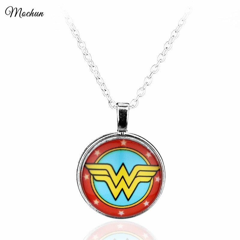 Оптовая продажа Wonder Woman Фото Кабошон Стекло Тибет серебряные Цвет цепи кулон Цепочки и ожерелья