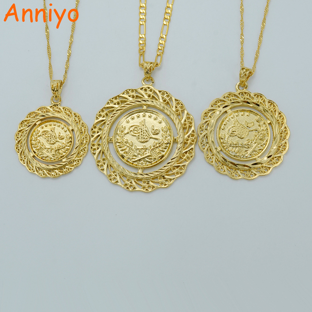 Anniyo 3 Größe Sie Können Wahltürkei Münze Anhänger Halskette Gold