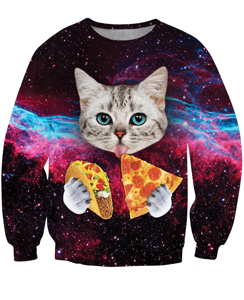 2017 new fashion women 3d sweatshirt printed funny cat pizza harajuku galaxy hoodies clothes outerwear tracksuit sw141