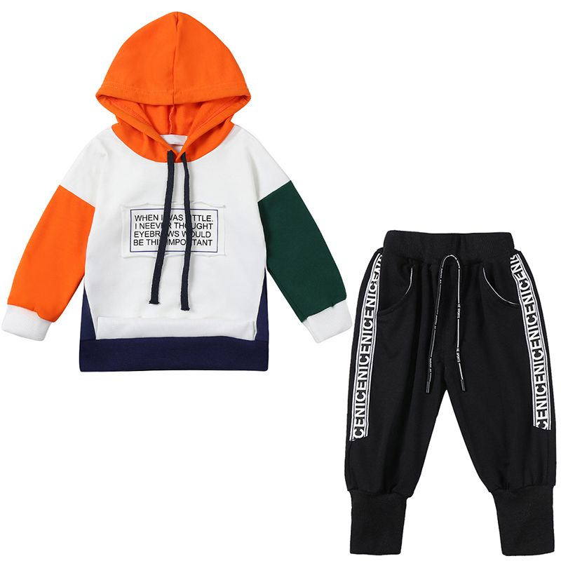 Long Sleeve Style Letter Print Sweatshirt Trousers Sweatpants Clothes Suit 2Piece Toddler Kids Baby Boy Hoodie Sweatsuit