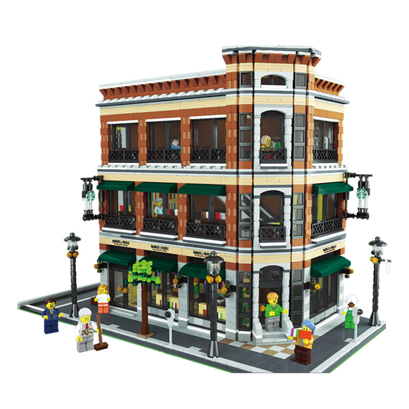 LEPIN 15017 Starbucks Bookstore Cafe Model Building Kit Block 4616Pcs Bricks Toys Gift For Children lepin 22001 pirate ship imperial warships model building block briks toys gift 1717pcs compatible legoed 10210