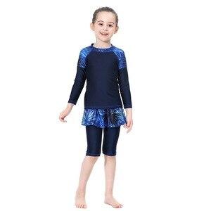 Image 5 - Милый исламский купальный костюм для девочек, купальник с длинными рукавами, детский купальный костюм с плиссированной юбкой, купальник с полубрюками, 2020