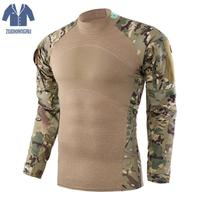 Zuoxiangru Men Tactical O neck Python T shirt Military Tactical Long Sleeve Shirt Men Camouflage Shirts For Shooting Plus Size