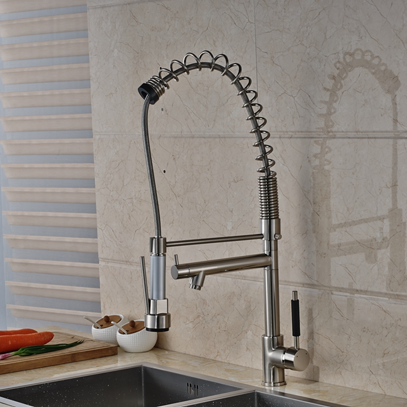 Modern Nickel Brushed Tall Kitchen Faucet Dual Spouts Vessel Sink Mixer Tap NEW led chrome kitchen faucet dual spouts spring vessel sink mixer tap