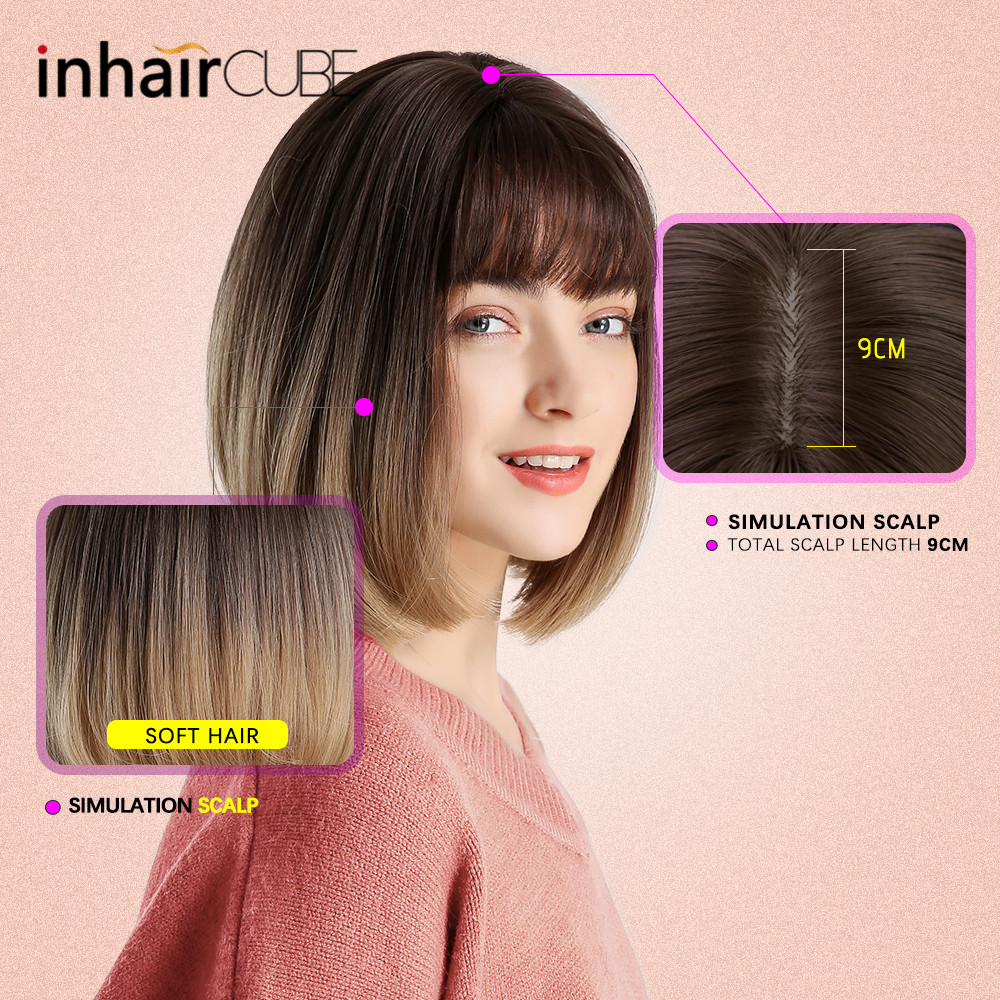 Image 5 - Inhair Cube Synthetic Flat Bangs Women Wig Ombre with Highlight Short Straight Hair Bob Wig  Cosplay  Hairstyle-in Synthetic None-Lace  Wigs from Hair Extensions & Wigs