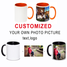 אישי DIY קפה ספל רב צבע ידית חלב תה כוסות עם מותאם אישית תמונה לוגו טקסט הדפסה