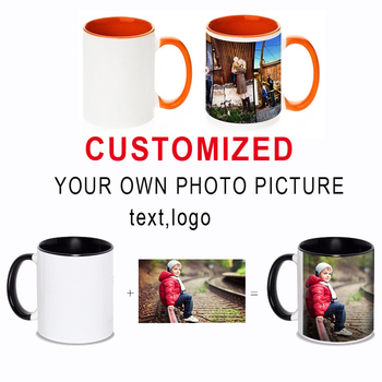Personalized DIY photo coffee mug Multi color handle Milk Tea Cups with Custom Picture LOGO Text printing
