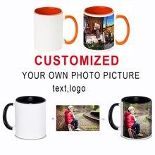 Spersonalizowane DIY photo kubek kawy wielokolorowy uchwyt herbata mleczna kubki z spersonalizowane LOGO obrazkowe drukowanie tekstu