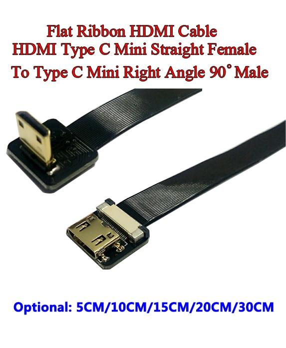 5/10/15/20/30CM Ultra Thin HDMI Cable Straight Type C Mini Female To Male Mini Right Angle 90 Degree Flat Ribbon Soft Cable FPV