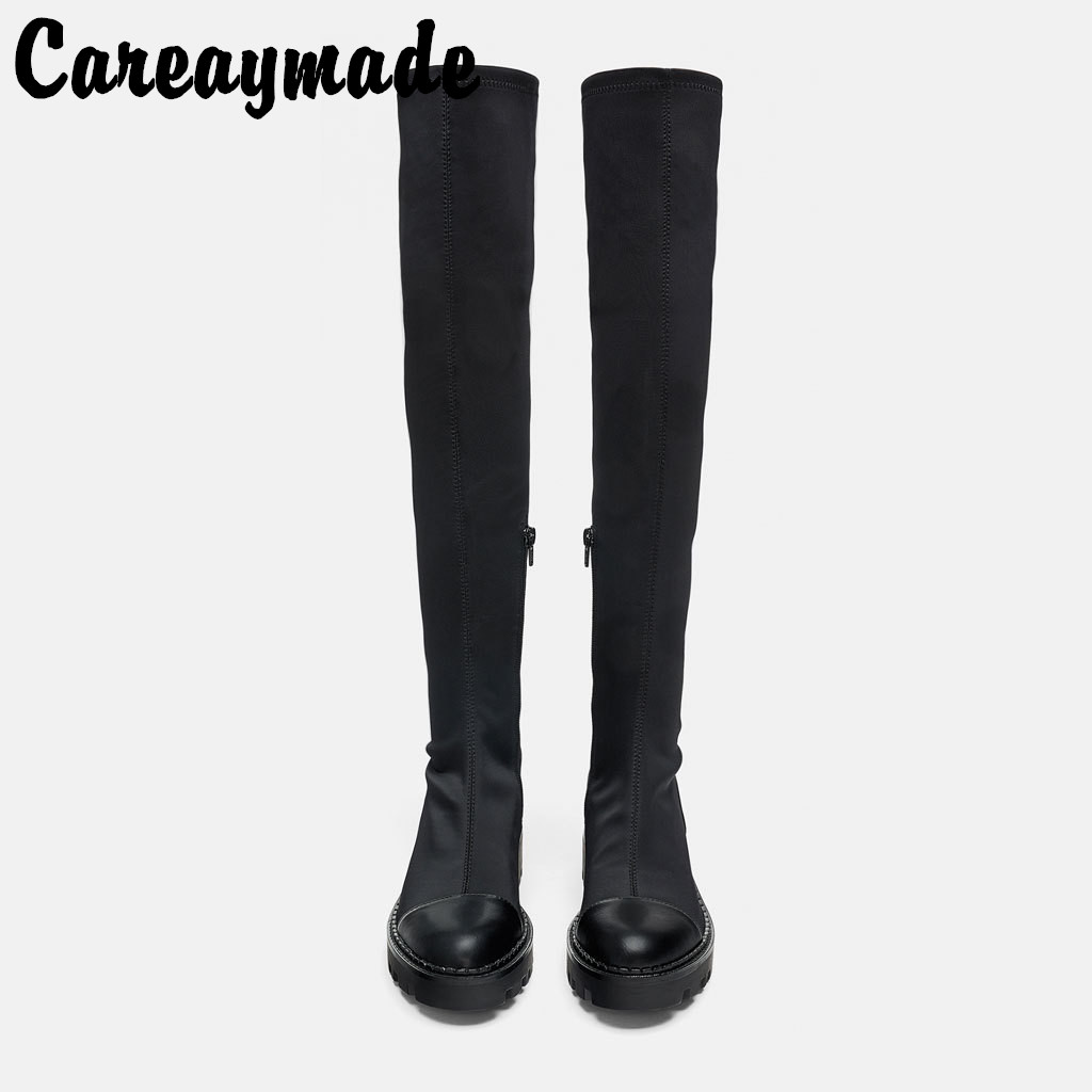 Careaymade-New womens Fashion black grooved sole high cylinder flat sole boots,fashionable over knee Expensive boots bootsCareaymade-New womens Fashion black grooved sole high cylinder flat sole boots,fashionable over knee Expensive boots boots