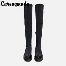 Careaymade-New womens Fashion black grooved sole high cylinder flat boots,fashionable over knee Expensive boots