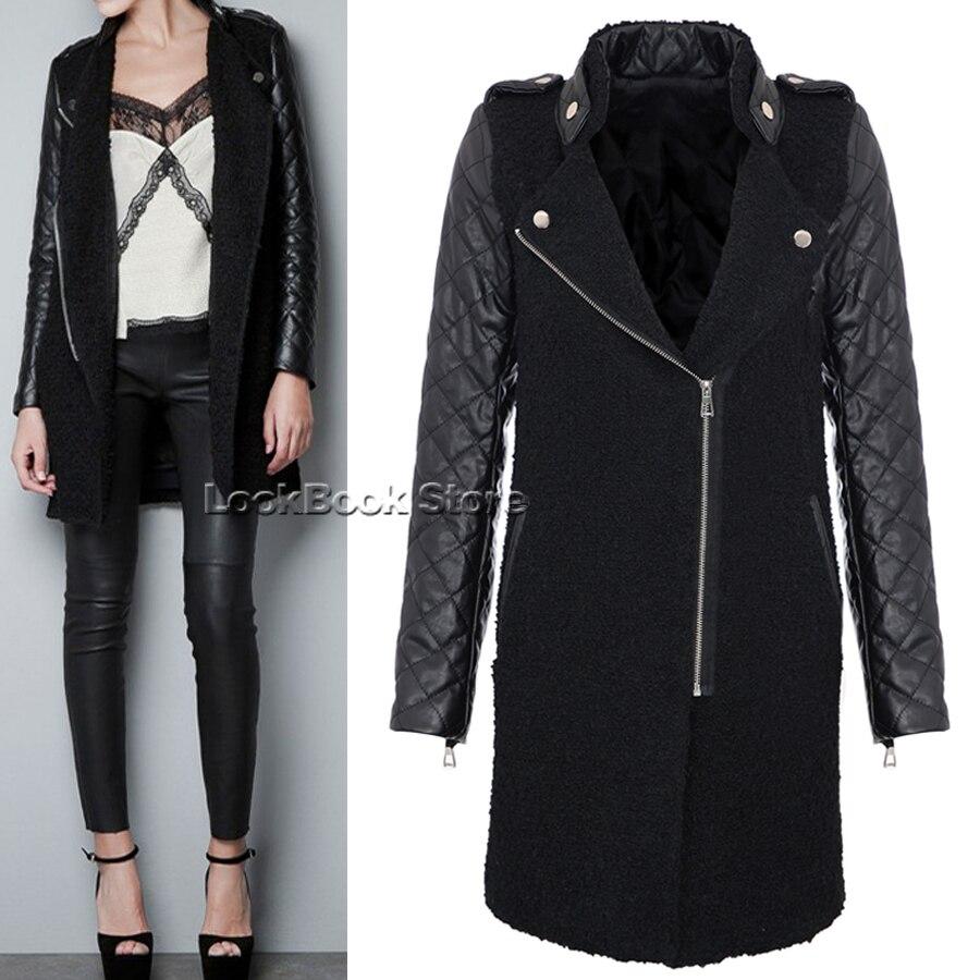 cappotto donna con manica in pelle