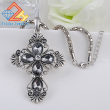 Cross Pendant / Necklace (1 piece lot) 100% Environmentally Friendly Material Plating Ancient Silver