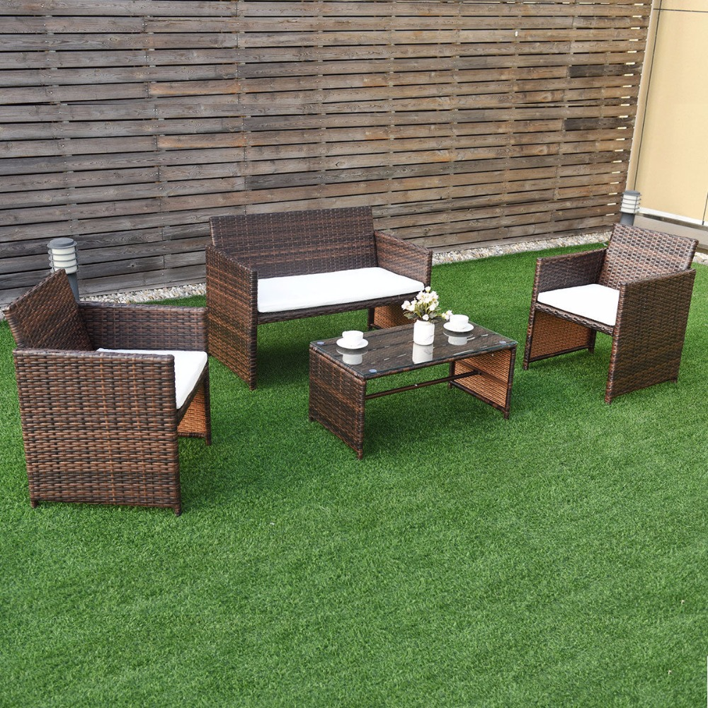 GIANTEX 4 PC/Set Outdoor Rattan Patio Furniture Set Garden Lawn Sofa Cushioned Seat Wicker Sofa Tables And Chairs Set HW57031