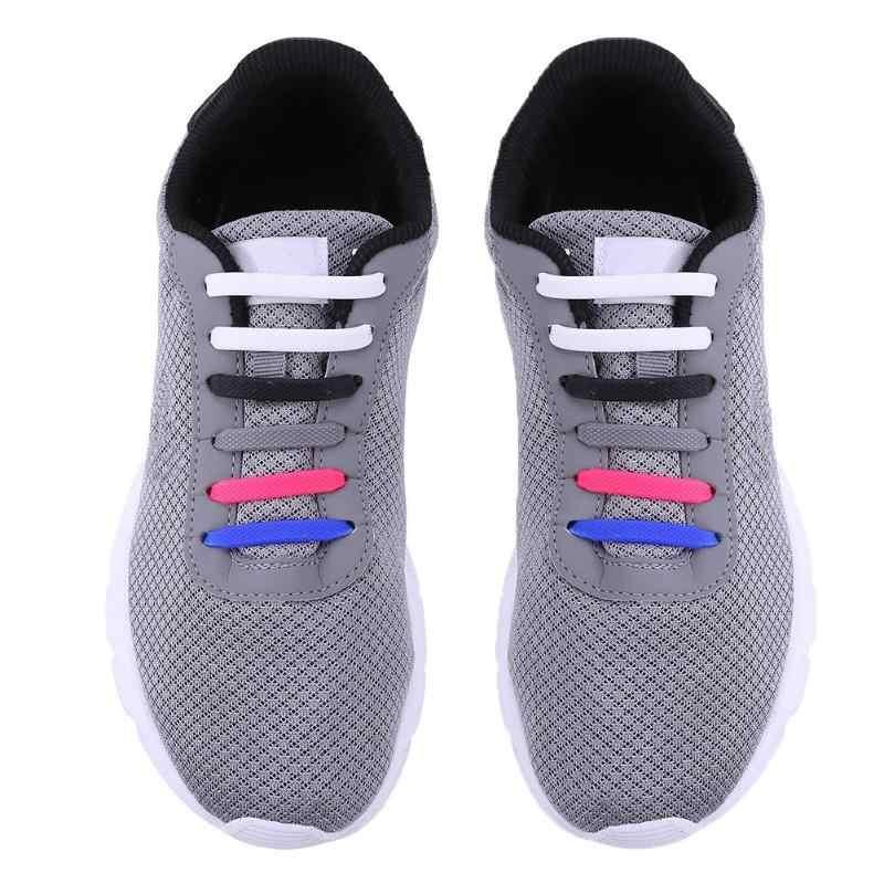 8 çift/takım Silikon Ayakabı Çocuk Elastik Çok Fonksiyonlu Ayakkabı Dize Düz Renk Koşu Hiçbir Kravat Ayakabı Çocuklar Yetişkinler için