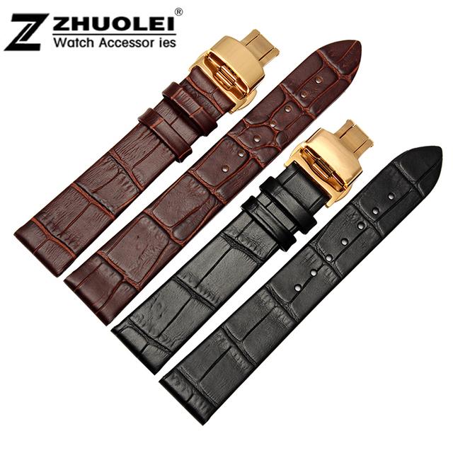 12mm 14mm 16mm 18mm 20mm Nuevo Marrón de Cuero Genuino Reloj de La Venda de La Pulsera de Oro de La Mariposa hebilla Del Envío Libre