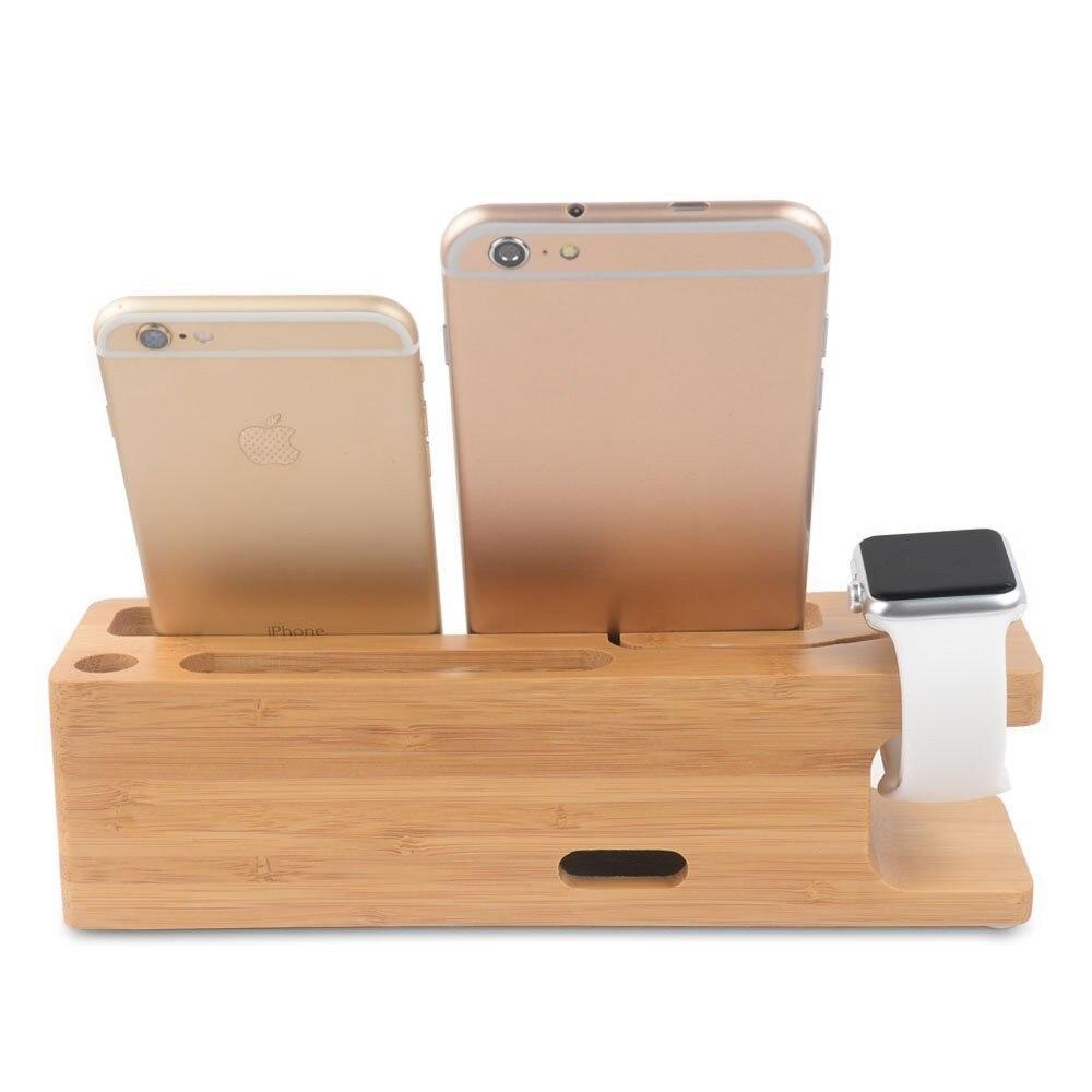 חדש עבור אפל שעונים מטען מזח עץ במבוק לעמוד מחזיק טלפון עבור iPhone SE/5/5s/6/6/7/7/בנוסף,עבור אני צופה עם חריץ לכרטיס