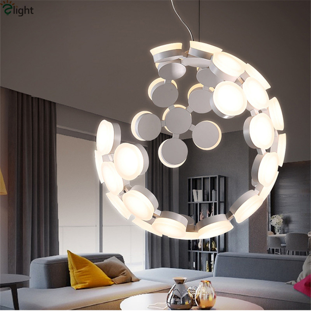 Modern Round Metal Led Pendant Lights Lustre Acrylic Dining Room Led ...