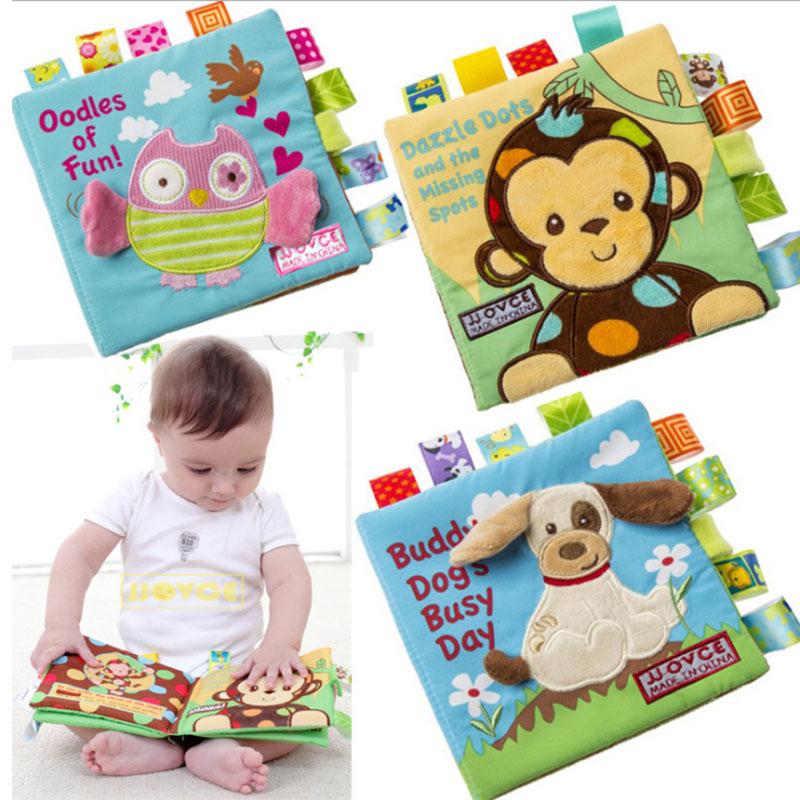 Jjovce لينة القماش كتاب ل الوليد الطفل 0-12 الشهر الطفل التعليمية عربة راتل القماش كتب لعب للأطفال الصغار