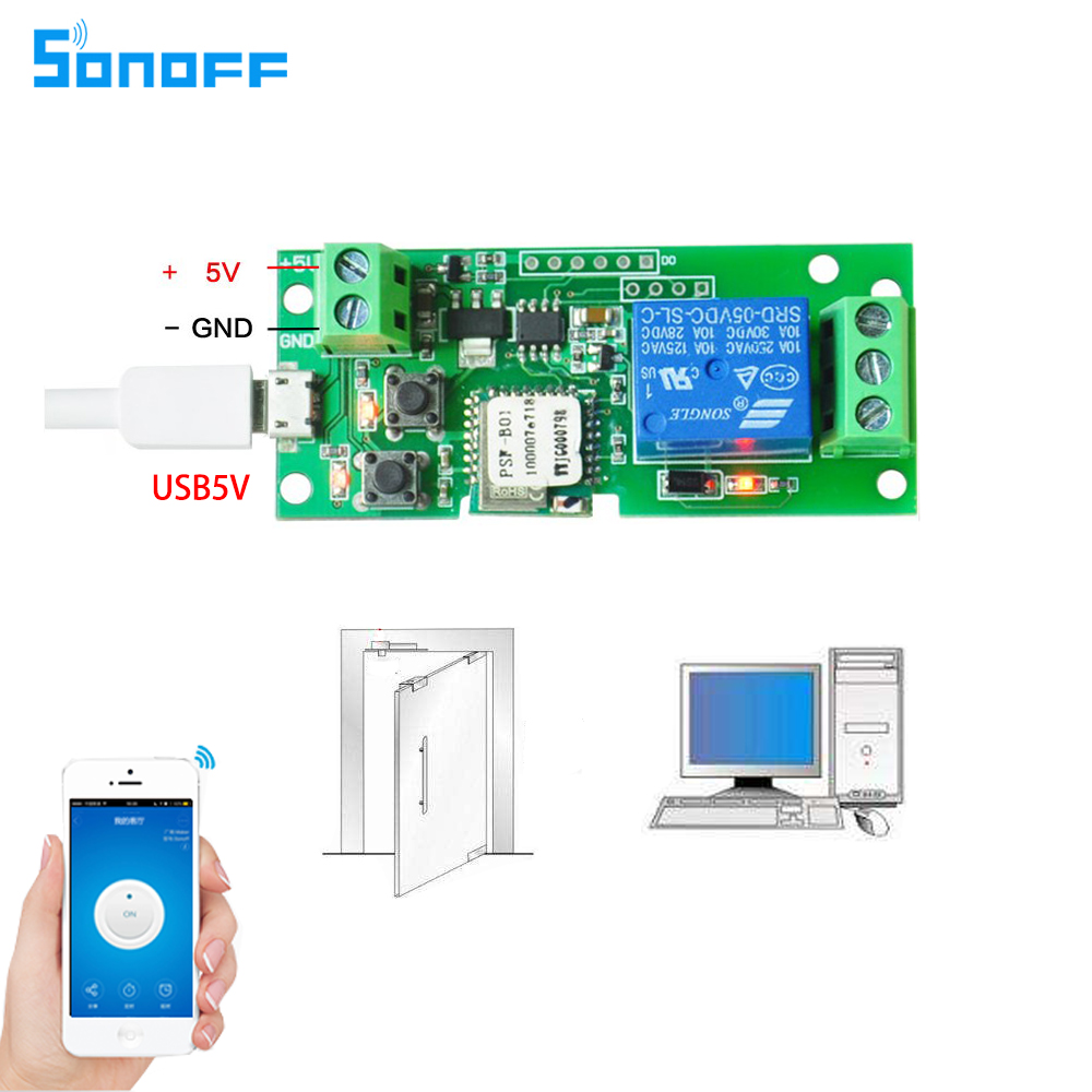 Sonoff DC5V 12 V 24 V 32 V WLAN Schalter Wireless Relaismodul Smart Home Automation für Zugangskontrollsystem Inching / Self-Locking