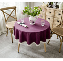 Solid color tablecloth, thick cotton and linen lace round coffee table cloth