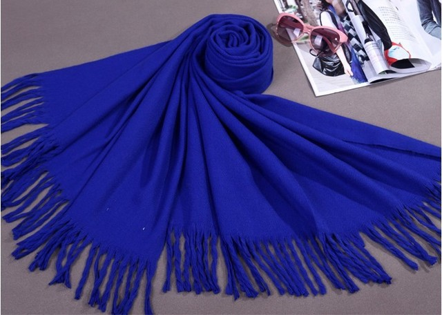 New Blue Chinese Women Winter Faux Cashmere Shawl Scarf Thick Warm Tassels Pashmina Cape Mujere Bufanda Size180 x 69cm WS009