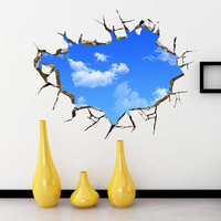 New 50 70cm 3D Wall Stickers Blue Sky And White Clouds Wall Decor Living Room Bathroom