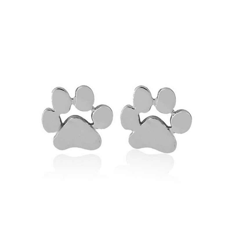 創造的な愛犬爪イヤリングかわいい子猫の足女性のイヤリング金属合金ジュエリーアクセサリーゴールドとシルバースタッドイヤリング
