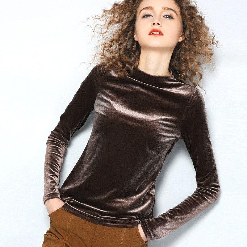 Spring Fall Fashion Women Green Black Full Sleeve Mandarin Collar Velvet Tee Shirt  Winter Woman 4xl Casual Velour T Shirts Tops