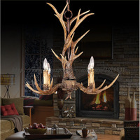 Europe Country 4 Heads Brown Dining Room Antler Chandeliers Lights Pendant Lamps Ceiling Fixtures Lighting, E14 110 240V