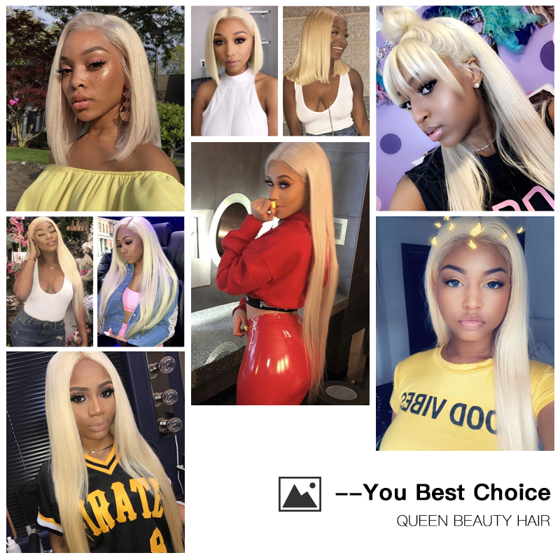 Image 5 - QUEEN BEAUTY 1/3/4 613 Blonde Hair Extensions Brazilian Hair Weave Bundles Straight Remy Human Hair 26 28 30 32 34 36 38 40 inch-in Hair Weaves from Hair Extensions & Wigs