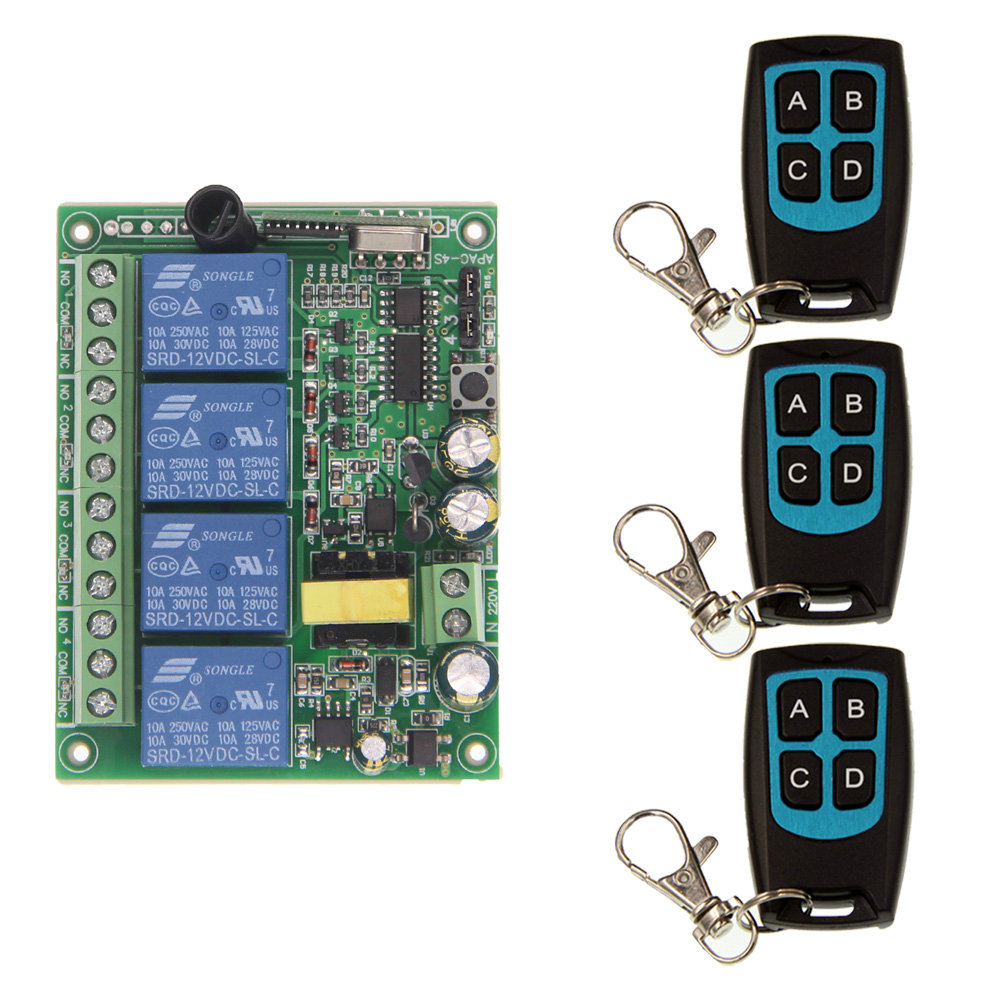 AC 220V 4CH 4 CH 10A Relay RF Wireless Remote Control Switch Wireless Light Switch Receiver With Black Waterproof Transmitter dc12v 4ch relay 10a rf wireless remote control switch system 1 receiver