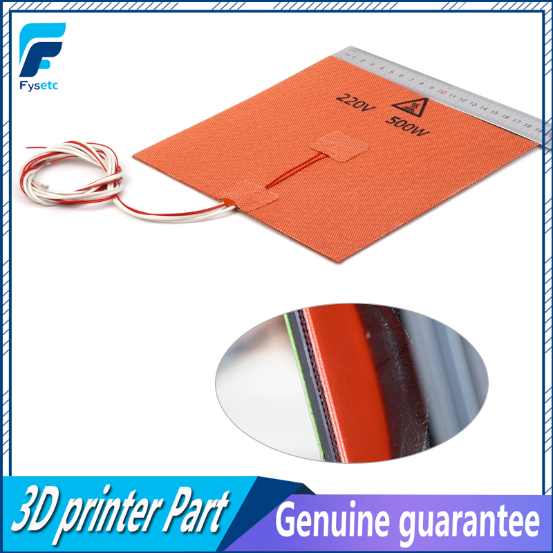 USA Material! 1PC Silicone Heater Pad 200X200mm 220V 500W With Thermistor Sensor 3M Adhesive For Cube Prusa i3 3D Printer|3D Printer Parts & Accessories| |  - title=