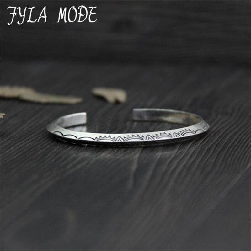 Fyla Mode Solid 999 Sterling Silver Jewelry Women Cuff Bracelets Bangle Vintage Flower Pattern Carved Cuff Bracelet 4.60mm 23G vintage carved metal tibetan silver cuff bracelet bangle for women