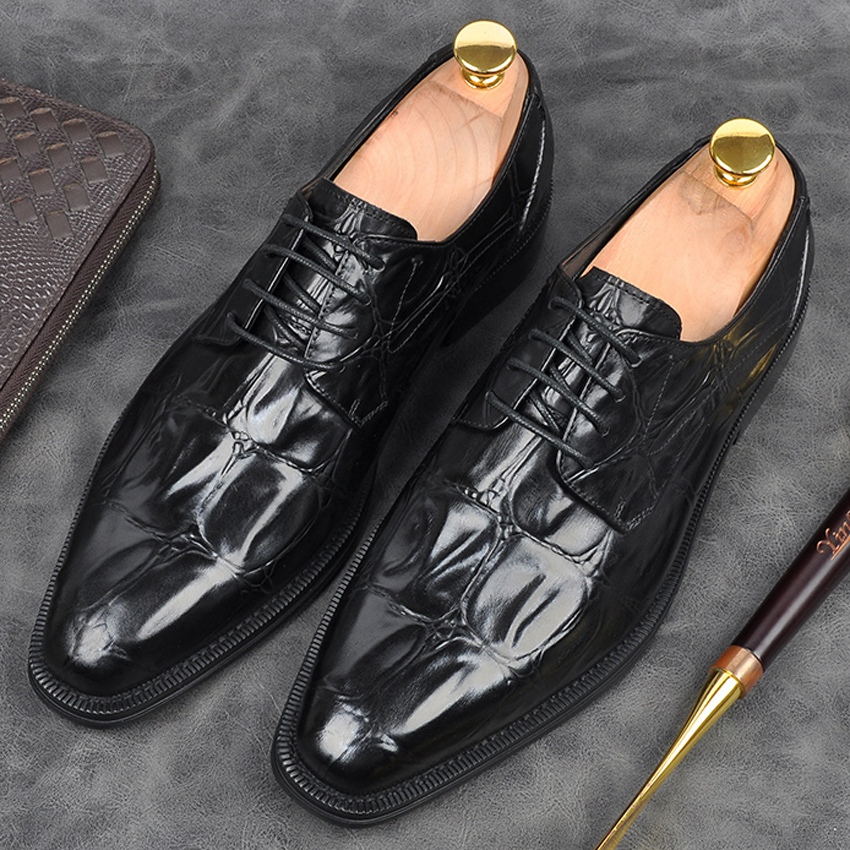 Luxury Brand Handmade Formal Dress Mens Derby Oxfords Shoes Genuine Leather Pointed Toe Goodyear Wedding Party Flats AM152Luxury Brand Handmade Formal Dress Mens Derby Oxfords Shoes Genuine Leather Pointed Toe Goodyear Wedding Party Flats AM152