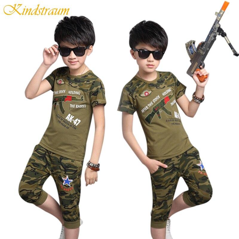 Kindstraum 2 unids Niños Ropa Conjuntos Niños Chándales Casual Ejército Camuflaj