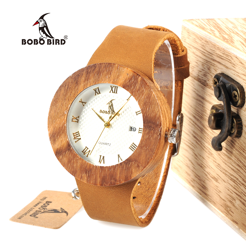 BOBO BIRD WC01 Womens Dress Zebra Wooden Watch Japan 2035 Miyota Movement Quartz Watches Unisex With Calendar In Wood Box