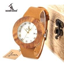 ボボ鳥 WC01 レディースドレスゼブラ木製腕時計日本 2035 御代田運動クォーツ時計ユニセックスカレンダーで木箱