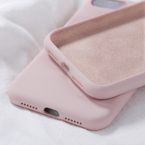 Image 2 - Oryginalny krzemu skrzynka dla iPhone X luksusowe ciecz pokrywa dla iPhone XR XS Max 7 8 Plus 6 6 S plus cukierki kolor Fundas Coques Capas